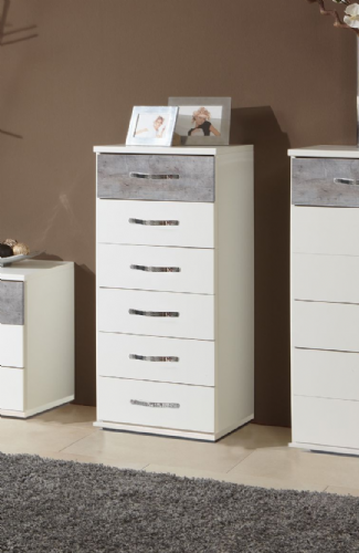 Ramina Concrete Grey And White Narrow Chest of Drawers in - 2661